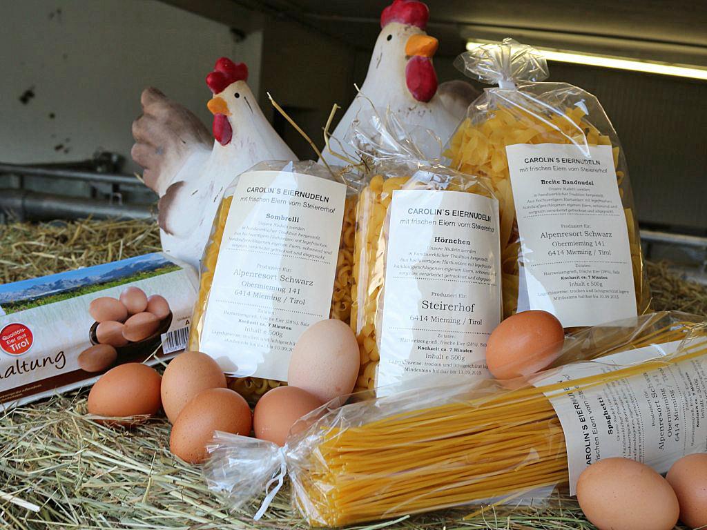 Eiernudeln in unterschiedlichsten Variationen, frisch auf den Tisch, vom Steirerhof. Foto: Steirerhof Mieming